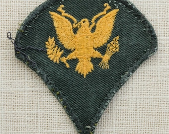 US Army Vintage Military Patch Vietnam Era Specialist 3rd Class E4 Gold on Green Uniform Sew on  War 6Z