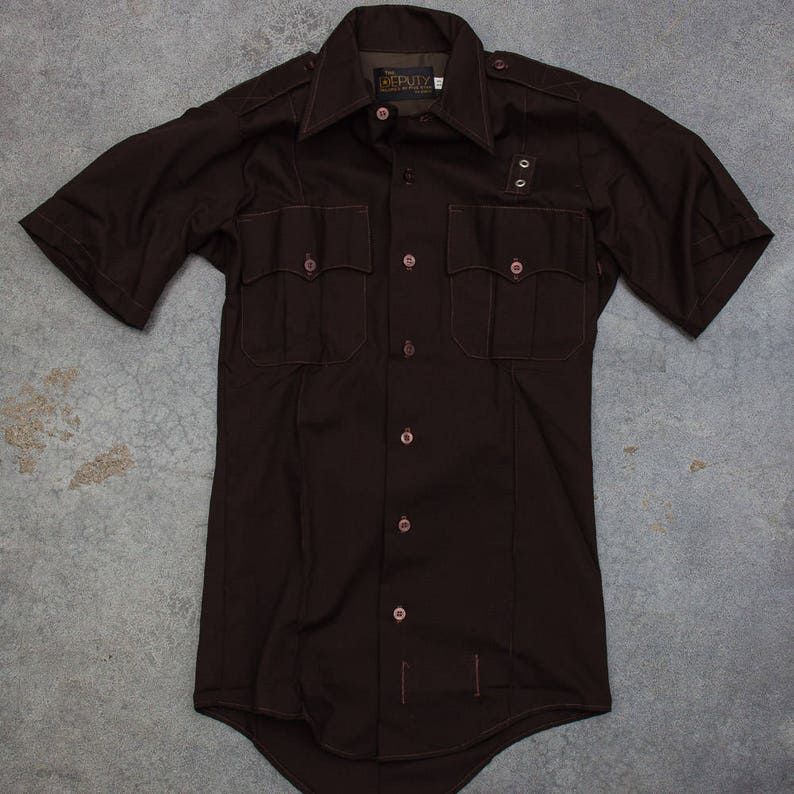 Brown Deputy Uniform Men's Shirt Vintage Size Small Button image 0