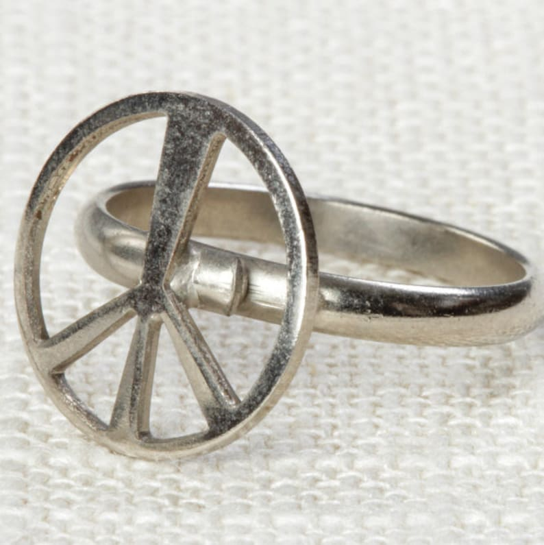 Vintage Peace Sign Ring Adjustable Silver Tone Metal Hippie image 0