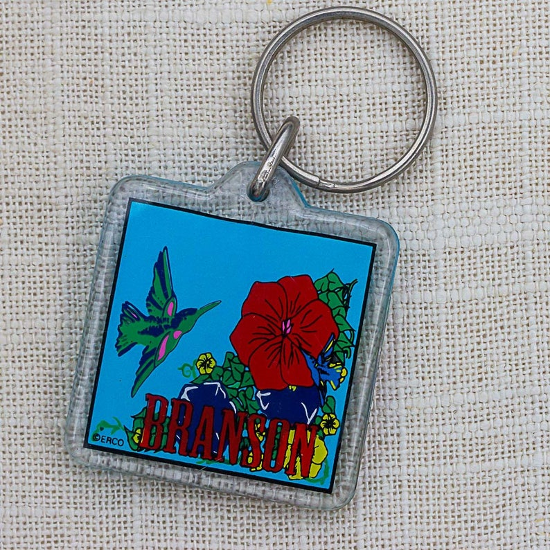 Branson Keychain Vintage Missouri Colorful Bird Red Flower Key image 0