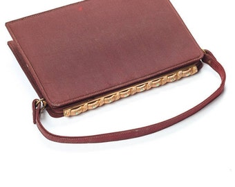 1940s Brown Vintage Purse w/ Gold & Turquoise Clasp Mayer New York / The Union Columbus Ohio 7VV