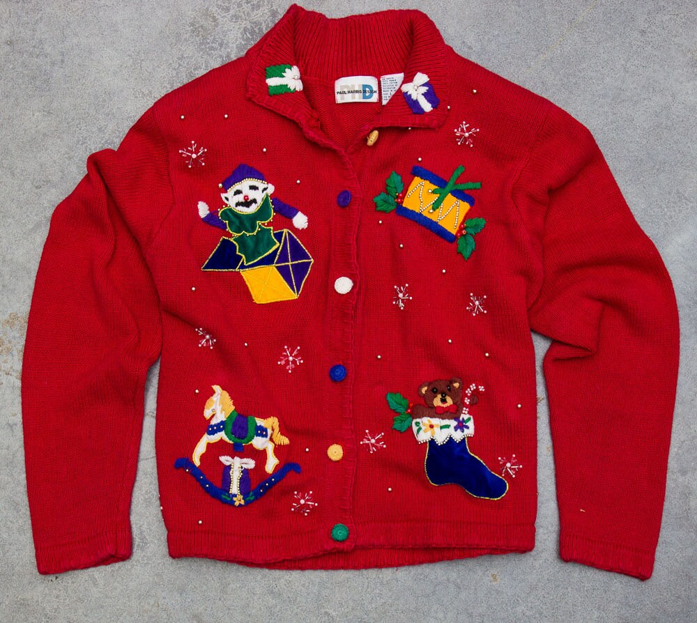 Vintage Ugly Christmas Sweater Size XL Xmas Cardigan | Winter ...