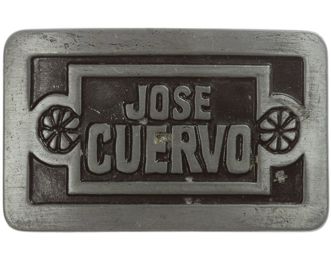 Jose Cuervo Belt Buckle Silver Pewter Grey Tequila Drinking Vintage 1977 Liquor USA Mexican 16B