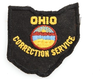 Vintage OHIO Correction Service Patch | Ohio State Silhouette Seal Crest | Sew On Applique | Costume Cop Police Jail Prison