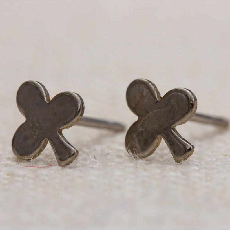 Simple Silver Club Earrings Tiny Dainty Emoji Vintage Earrings image 0