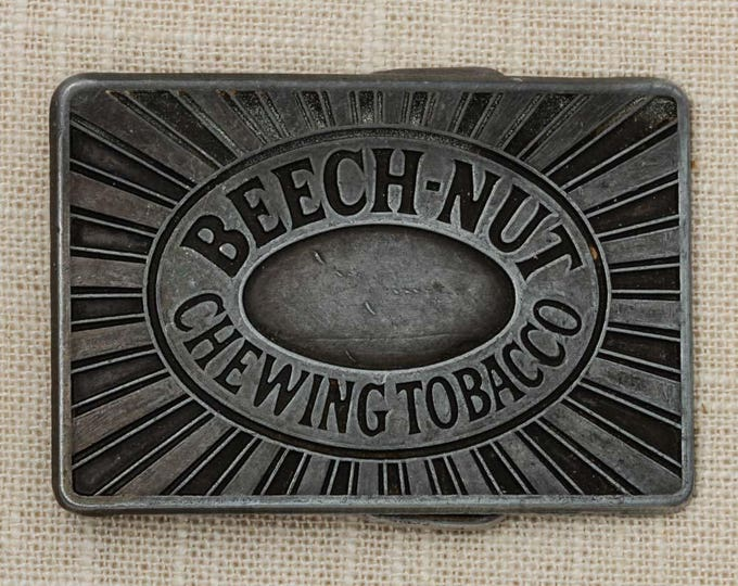 Beech Nut Chewing Tobacco Belt Buckle Pewter Rectangle Simple Graphics Vintage Belt Buckle 7Q