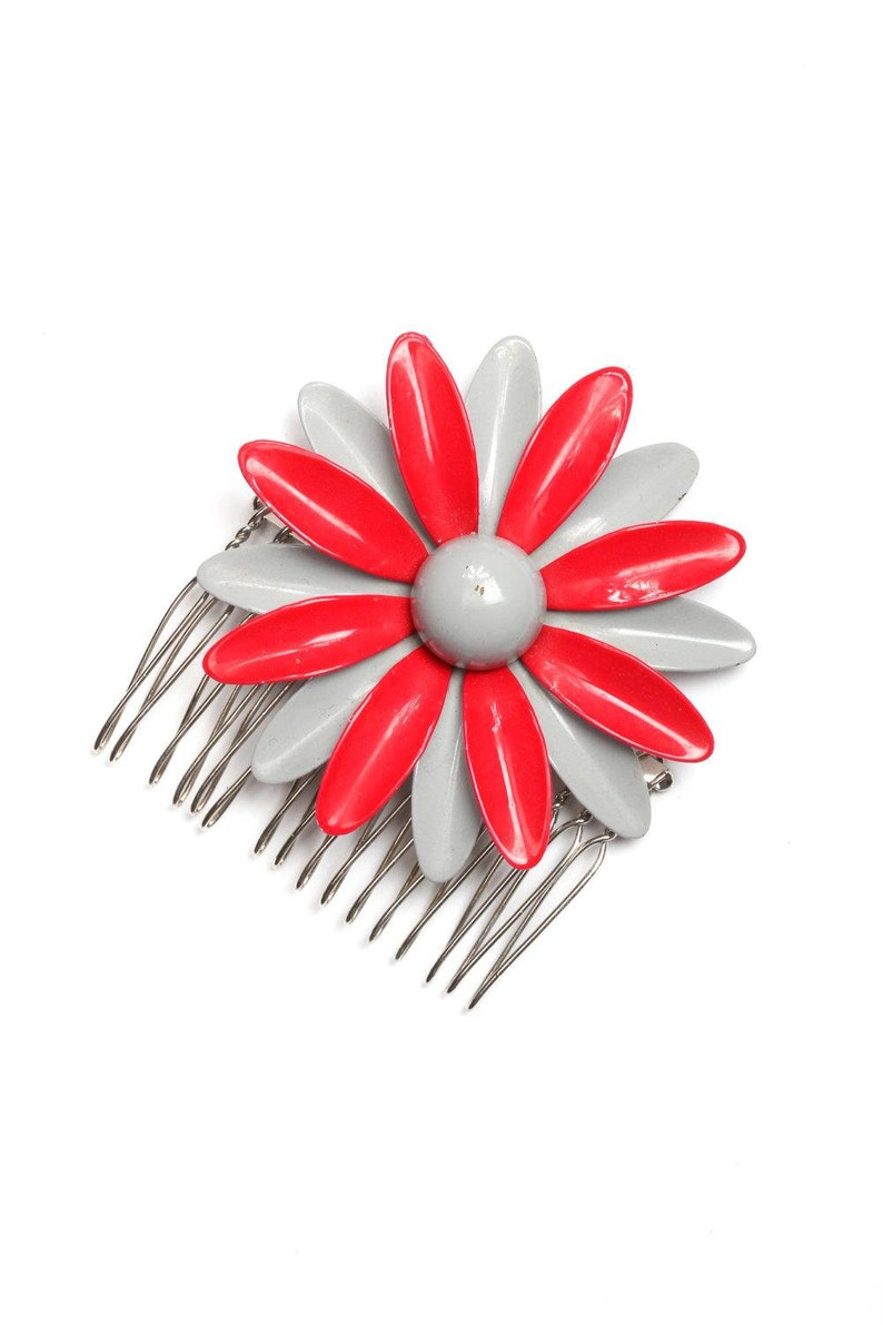 Floral Red and Gray Hair Comb Mod 1950s 60s Enamel Vintage image 0