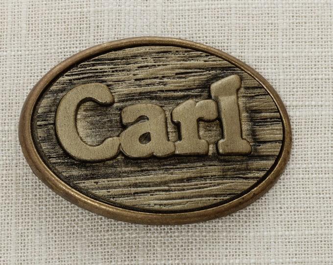 "Vintage ""Carl"" Belt Buckle 1970s Name Psychedelic Font 70s Mens Womens Unisex 16B"