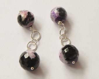 Purple fire agate sterling silver chain link cufflinks