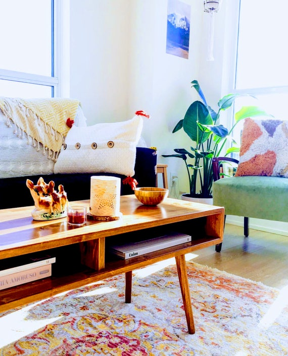Mid Century Modern Coffee Table Solid Wood 36 MADE TO