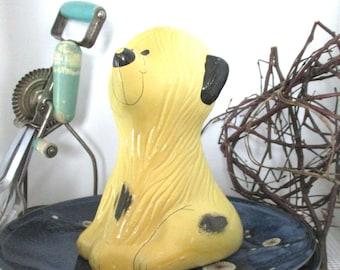 Vintage Ceramic Yellow Dog Bank