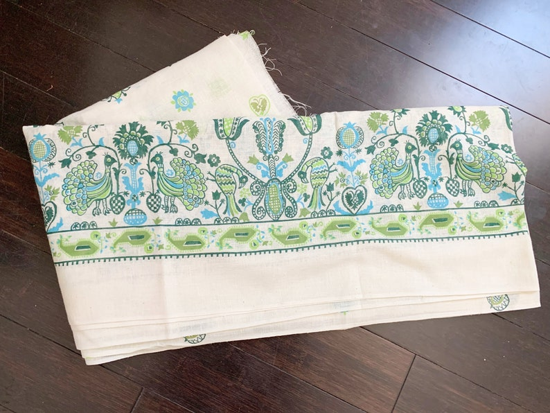 Vintage Green and Blue Peacock Linen Fabric 3 yards