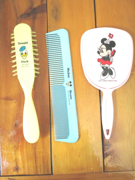 Vintage Disney Productions Vanity Set Made In The Usa Minnie Mouse Mirror Donald Duck Brush Mickey Mouse Comb