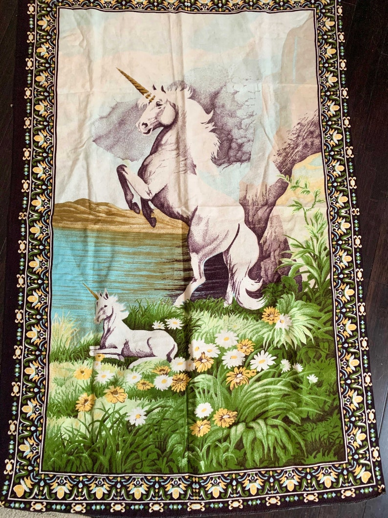 Unicorn Cotton Tapestry /Fantasy Wall Hanging Vintage /Made In Turkey 35 x  55