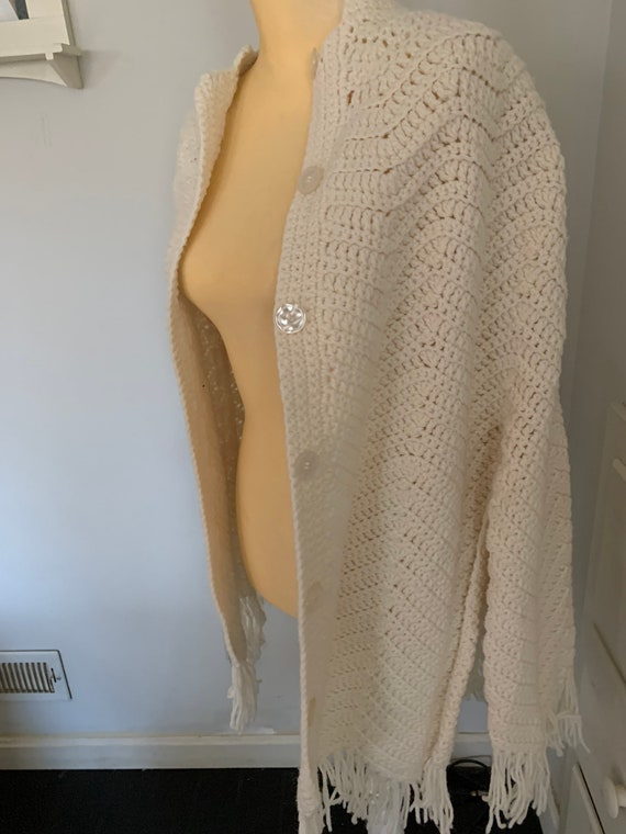 Handmade Knitted Button Down Cream Colored Poncho