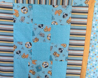 Crib quilt - penquins and strips - 44 x 53