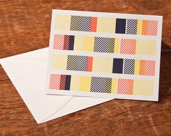 Stripes Card / Blank Card / Blank Letterpress Card / Striped Letterpress Card