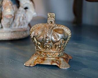 Rare Vintage Coronation Crown Bank, Cast Iron, Queen Elizabeth II, 1953, England