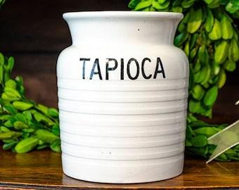 Antique English Ironstone Tapioca Canister, Jar, Banded, Black Transferware, Edwardian Kitchenalia