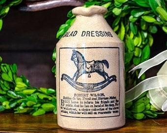 Antique English Advertising Crock, Salad Dressing