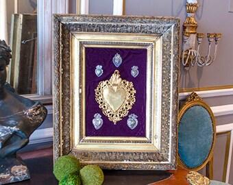 LAYAWAY for Heather: Antique Sacred Hearts, Framed, Set of Six