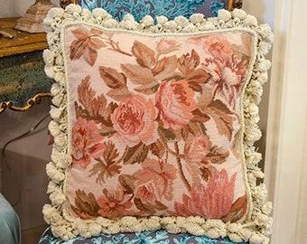 Vintage Aubusson Pillow, Needlepoint, Tassel Trim, Velvet Back