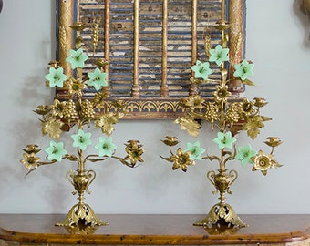 LAYAWAY for Jeanne: FAB Antique French Altar Candelabras, Jadeite Flowers, 19th c. French Church, Unusual and Rare, From France