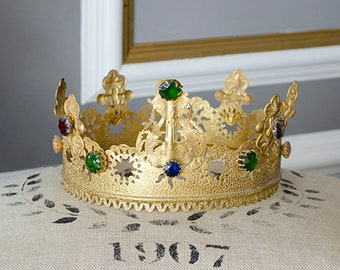 RARE Lg Antique French Madonna Crown, Gilt Brass, Paste Stones, Very Old, From France