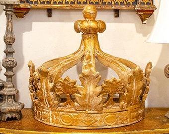 TEMP HOLD for Sabrina: Huge Architectural Crown, Carved Wood, Ciel De Lit, Wood Corona, Gesso