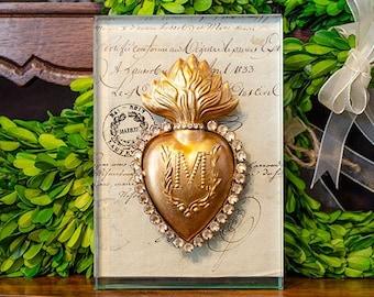 Framed Sacred Heart Ex Voto, Antique French Papers, Glass Block Frame