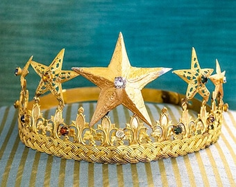 Rare Lg Antique French Crown, Religious Crown, Gilt Metal, Rhinestones, Very Old