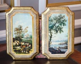 Vintage Italian Florentine Art Plaques, French Scenes, Wood, Italy