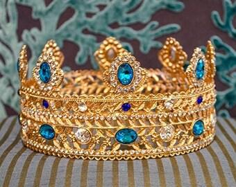 Lg Ornate Metal Crown, Rhinestones