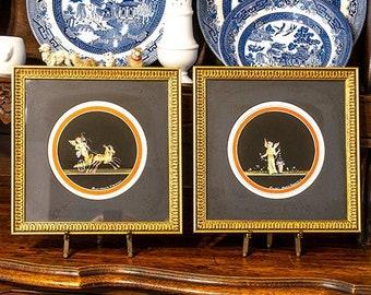 Vintage Pair Pompeii Gouache Paintings, Italian, Artist Maria Graziano, Framed