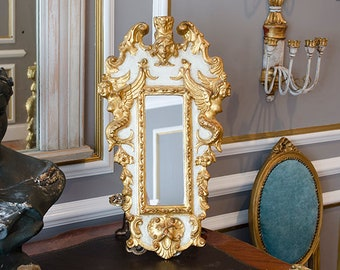 Vintage Italian Florentine Rococo Wall Mirror, Gilded Carved Wood
