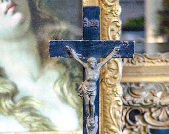 Antique German Crucifix, Ebonized Wood, from Germany