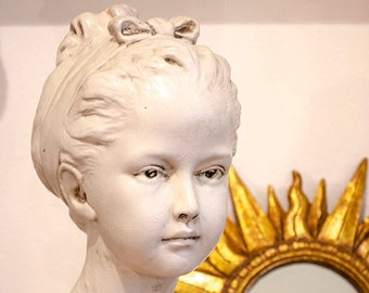 Vintage French Style Bust, Houdon, Girl Statue, Chalkware
