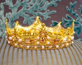 Lg Ornate Metal Crown, Rhinestones and Pearls