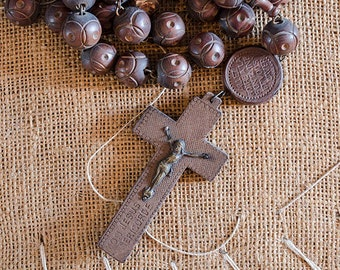 """Antique French Lourdes Wall Rosary, Large Carved Wood Beads, From France, 47"""" Long"""