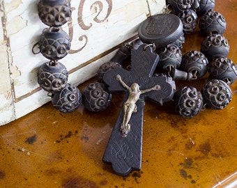 """Antique French Lourdes Wall Rosary, Large Carved Wood Beads, From France, 50"""" Long"""