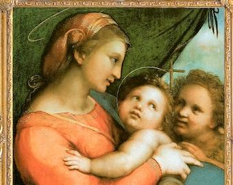Madonna and Christ Child with Little St. John Art Print, Print on Canvas, Raphael