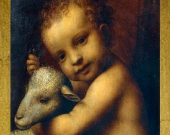 Beautiful Infant Jesus with Lamb, Oil Painting Print on Canvas, Bernardino Luini
