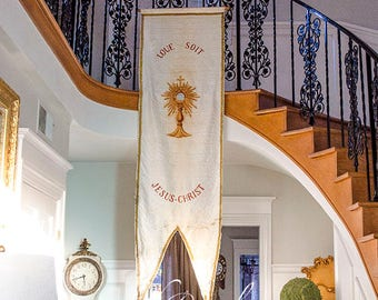 Antique French Church Banner, Monstrance, circa 1880, from France