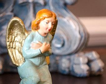 Vintage Nativity Angel, Italian, Creche, Kneeling Angel, Beautiful Colors