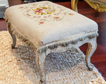 Antique French Painted Foot Stool, Needlepoint Top