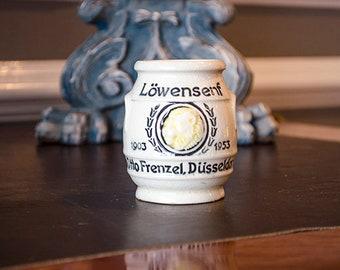 Vintage German Mustard Pot, Lions Head