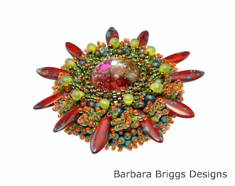 "The ""Marine Life"" Bead Embroidered Brooch Kit - Red Tones"
