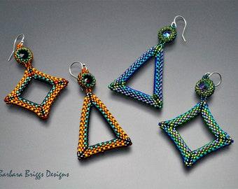 "The ""Geometric Square Diamond and Isosceles Triangle Components"" Drop Earrings Beading Kit"