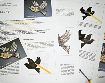 """Tutorial for the """"Peace Dove"""" Bead-Embroidered Brooch"""