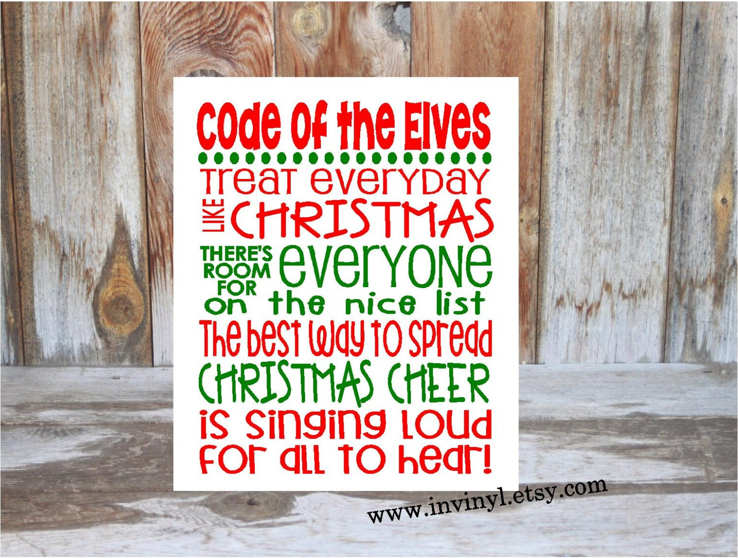 ELF inspired CHRISTMAS Rules Code of the Elves wood | Etsy
